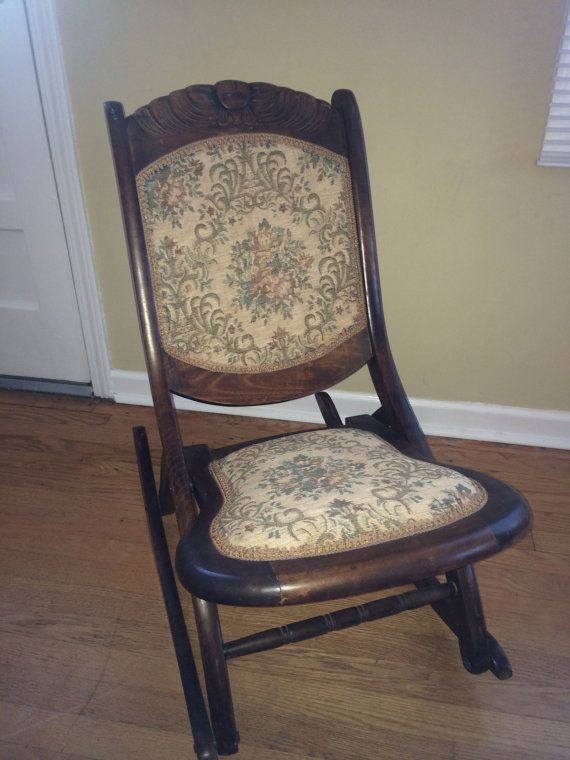 Wooden Hand Carved Antique Rocking Chair Embroidered Seat