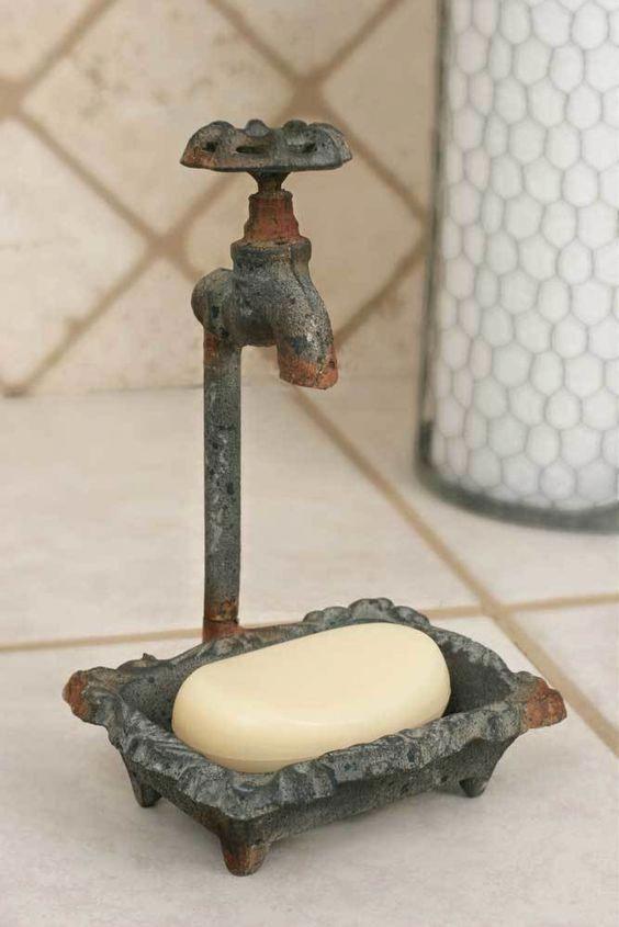 Antique Silver Bath Accessories: Water Faucet Soap Dish En 2019