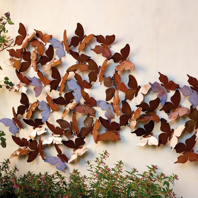 Butterfly Wall Panel Frontgate Exterior Wall Art Outdoor Metal Wall Art Outdoor Wall Art