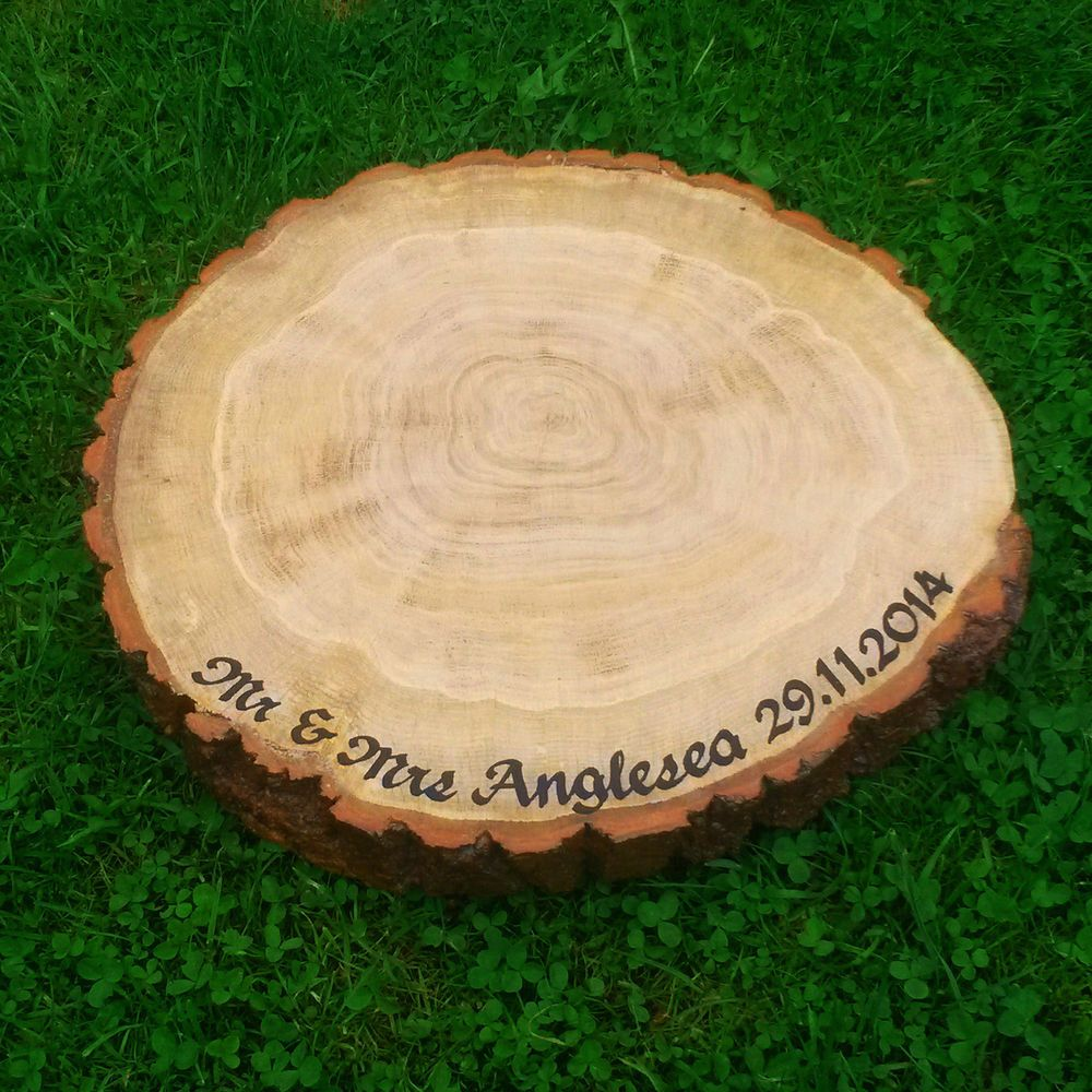 LARGE Personalised Rustic Wood Cake Stand OAK Wedding Table Centre Piece