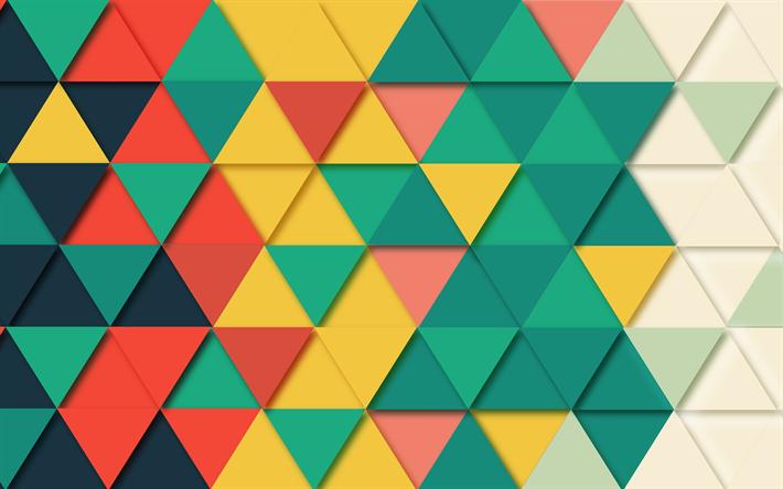 Download Wallpapers Mosaic Patterns 4k Triangles Shapes Geometric Geometry Besthqwallpapers Com Texturas Geometricas Patrones De Mosaico Texturas Visuales