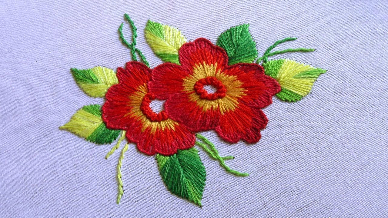 Cushion cover design by long and short stitch with french knot