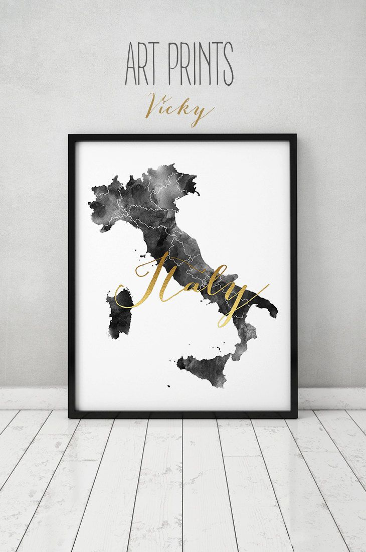 Italy Map Wall Art.Italy Watercolor Map Blackandwhite Blackdecor Artprints Poster