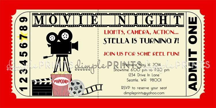 Vintage Movie Ticket Printable Birthday Invite Movie Party