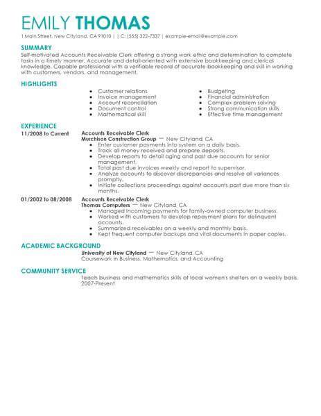 best accounts receivable clerk resume example