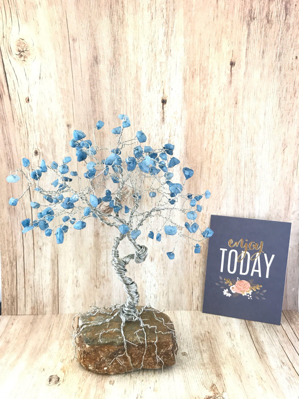 Large Gem Tree, Blue Quartzite, Wire Tree Sculpture, Tree of Life ...