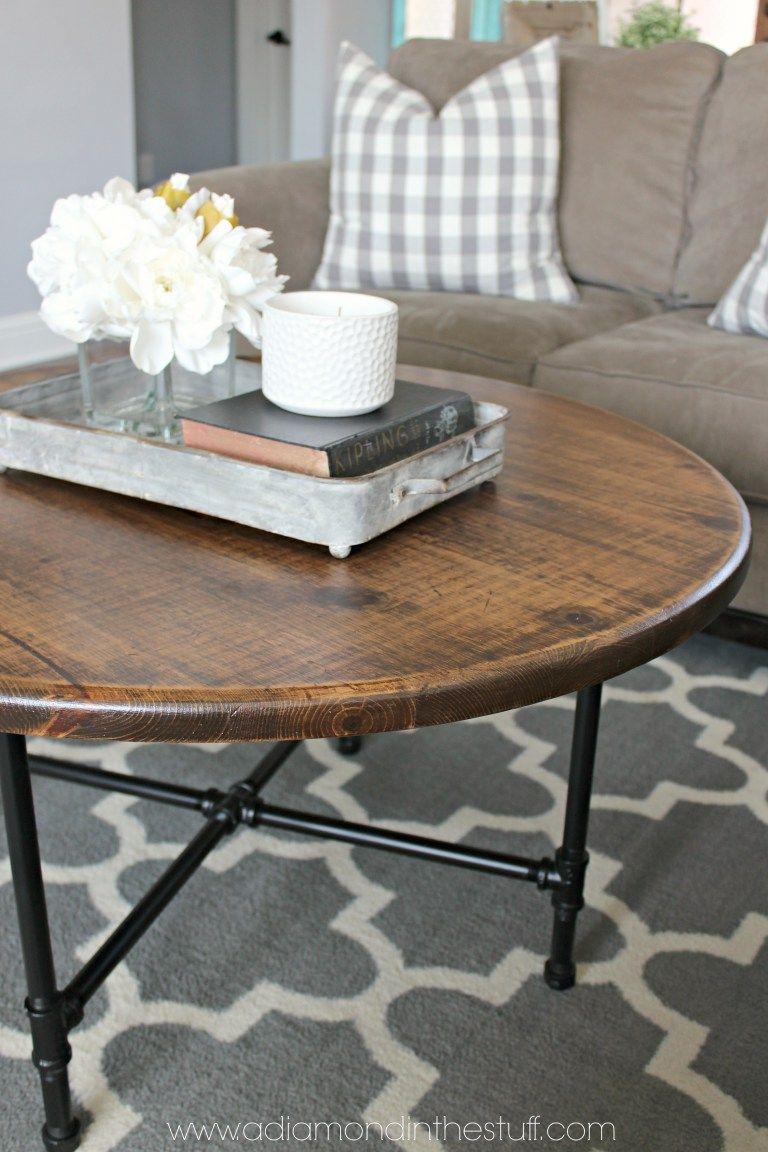 Diy round industrial coffee table coffee table farmhouse