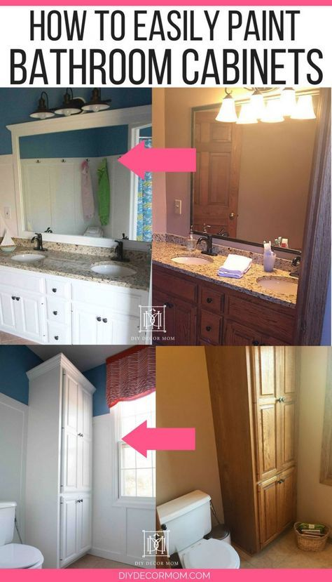 before and after white painted bathroom cabinets how to paint rh pinterest com Chalk Paint Bathroom Cabinets DIY Staining Cabinets