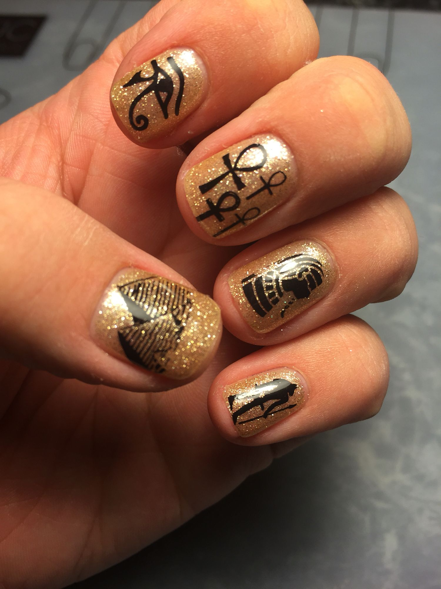 Egyptian nails, check out the instagram page @danielle8857 for more ...