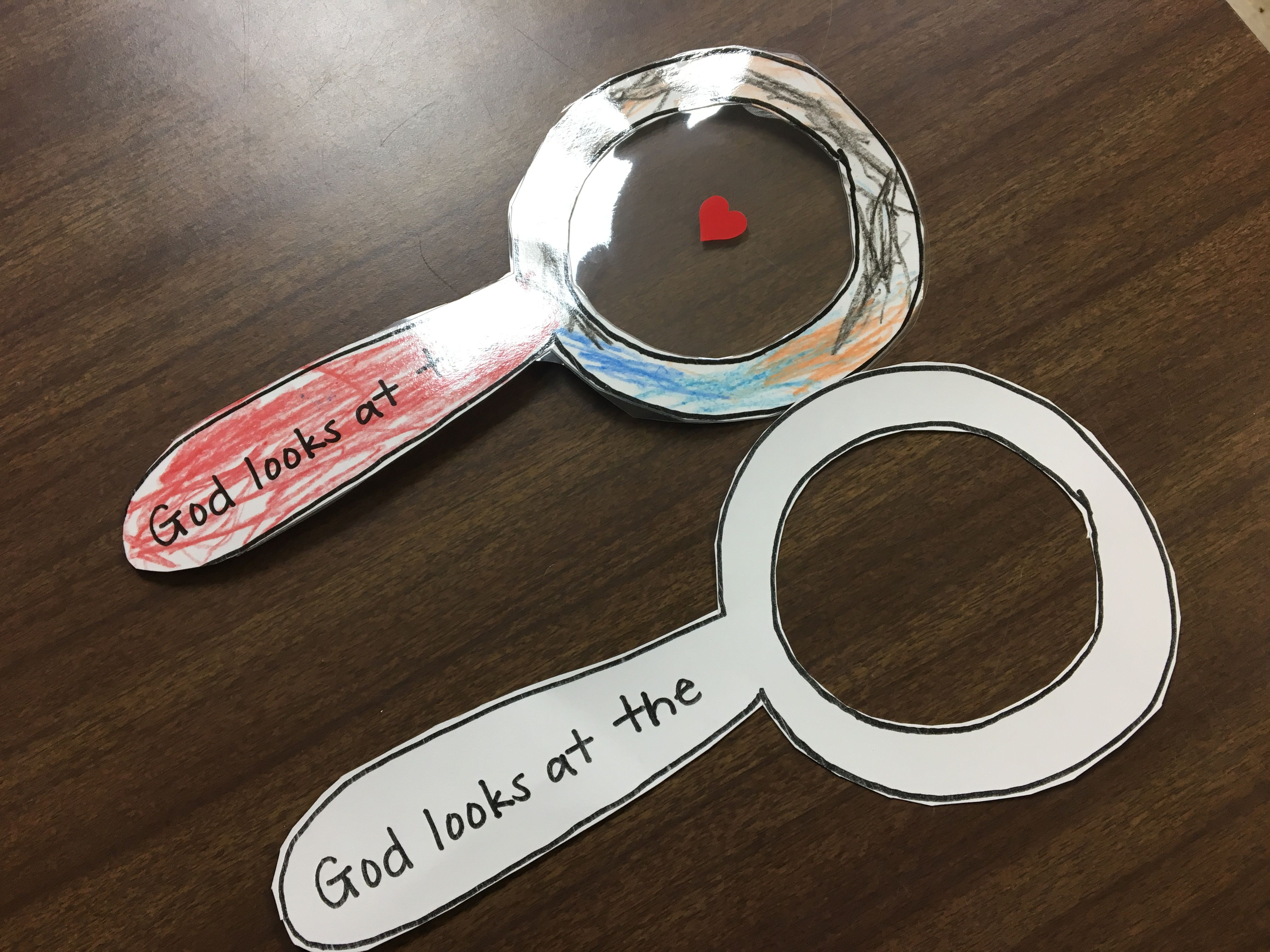 """Bible craft """"God looks at the heart"""" 1 Samuel 16:7. Color ..."""