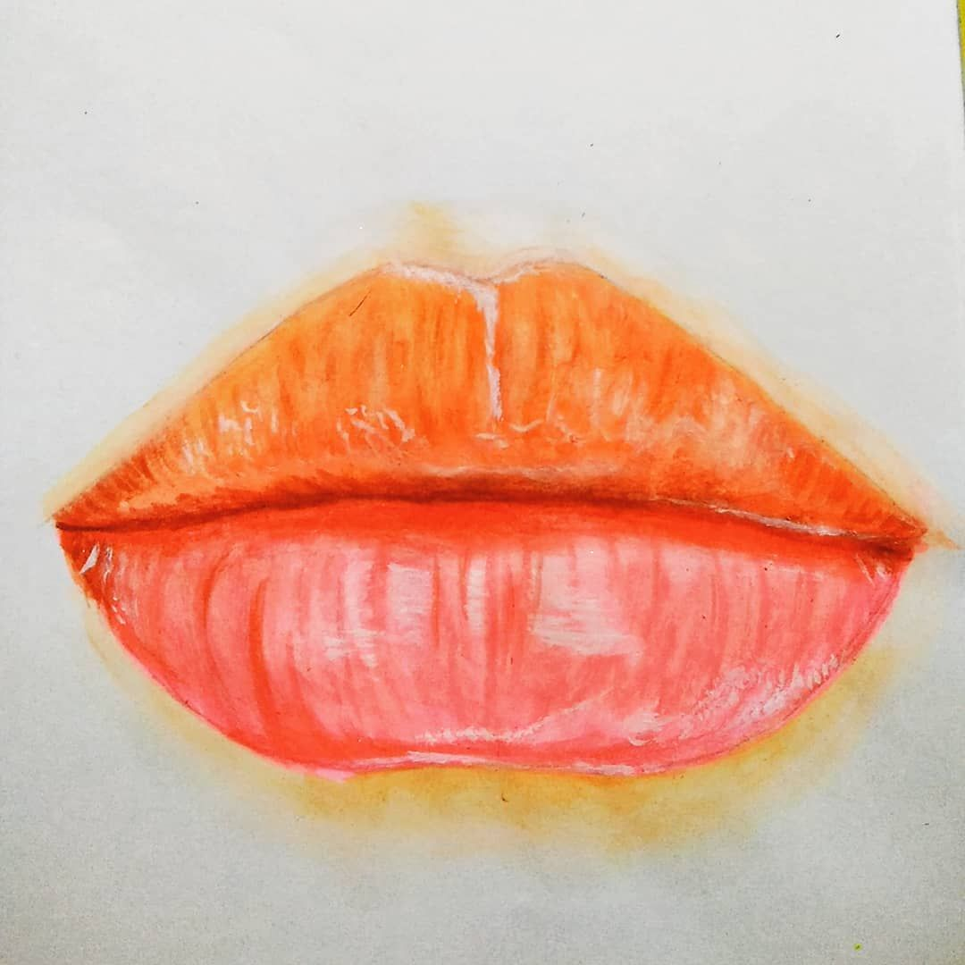 Realistic Lips Glossy Lips Watercolor Painting Dream Art