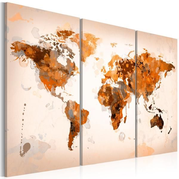 Quadro - Map of the World - Desert storm - triptych | Quadri su tela ...
