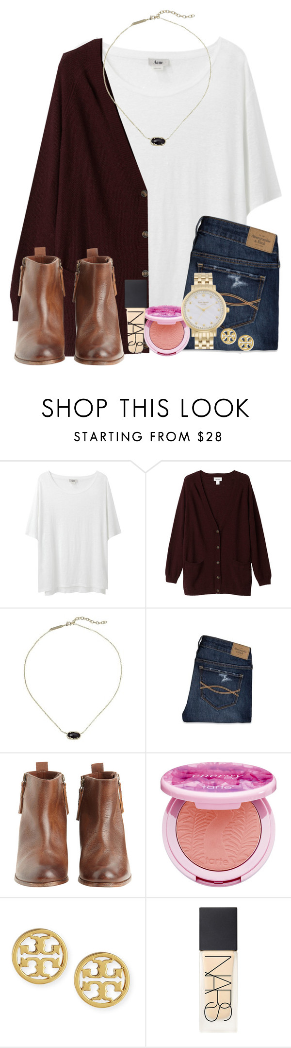 """""""~oh how wonderful life is when your in the world~"""" by ellaswiftie13 ❤ liked on Polyvore featuring Acne Studios, Monki, Kendra Scott, Abercrombie & Fitch, Hoss Intropia, tarte, Tory Burch, NARS Cosmetics and Kate Spade"""