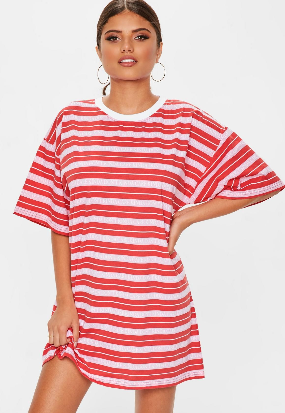 Missguided - Red Oversized TShirt Dress Kinda Care 6b5c56a0b1