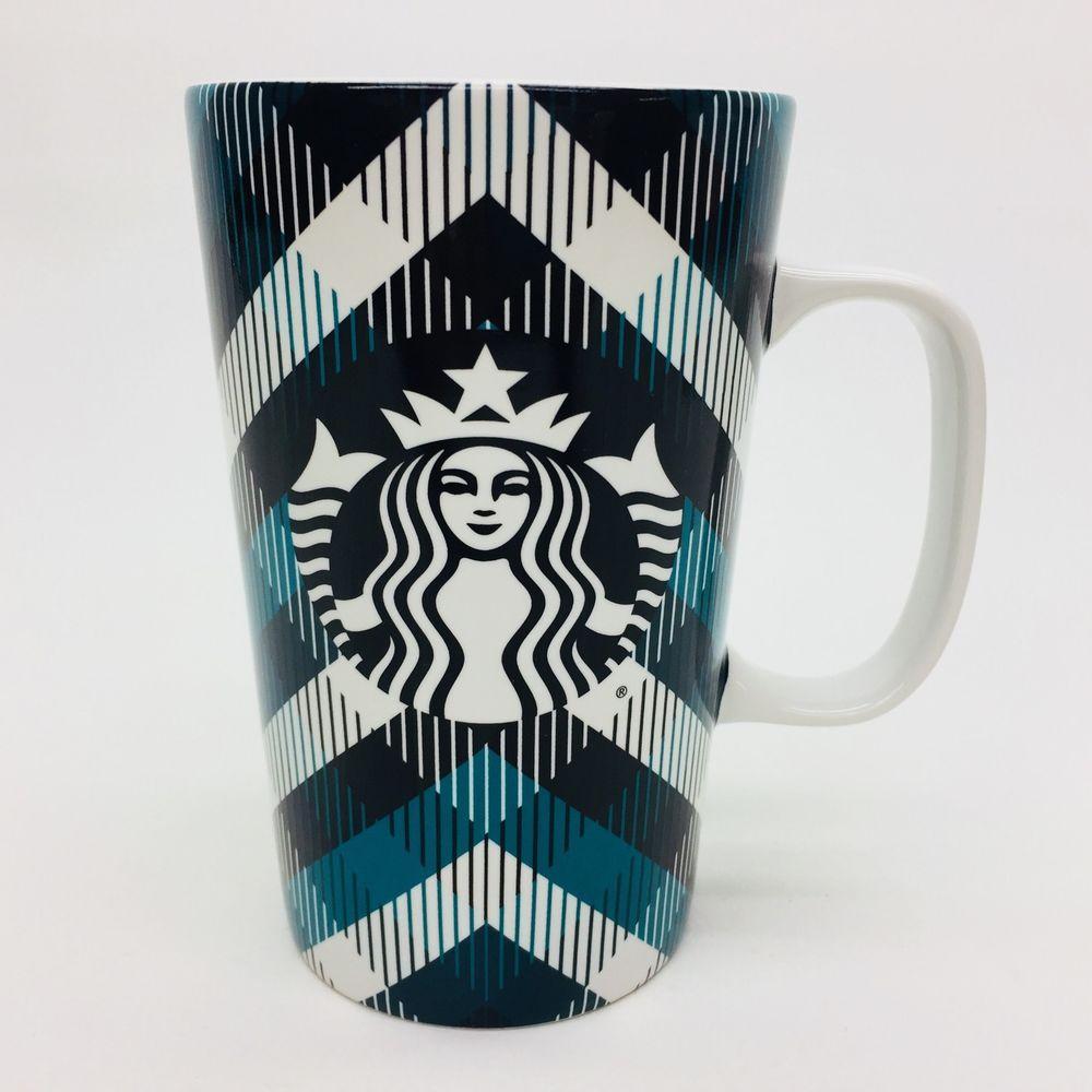 Starbucks 2015 Green White Tartan Plaid Tall 16 Oz Coffee