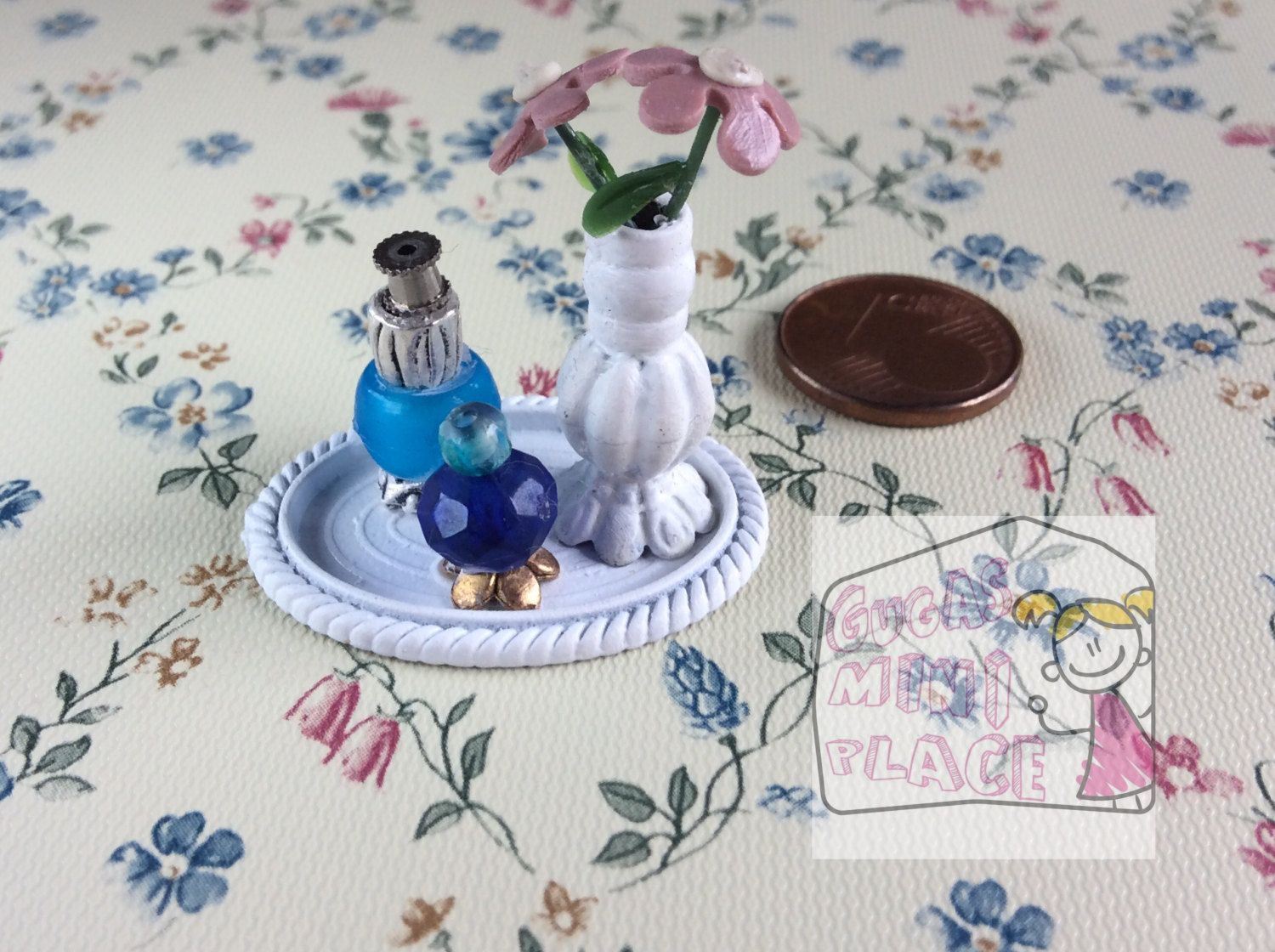 Miniature Vanity Tray pink Flowers in vase Dollhouse Perfume 1:12 Scale  Handmade Dollhouse Decor Supplies by GugasMiniPlace on Etsy