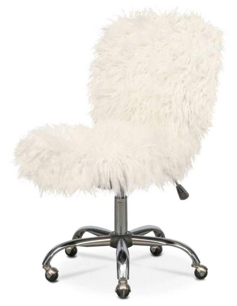 White Fluffy Desk Chair   http://devintavern.com   Pinterest   Desks