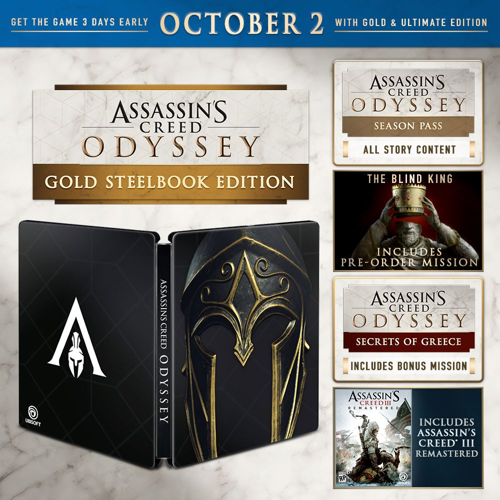 Buy Assassin S Creed Odyssey Gold Steelbook Edition For Ps4 Ubisoft Official Store Assassins Creed Assassins Creed Odyssey Creed