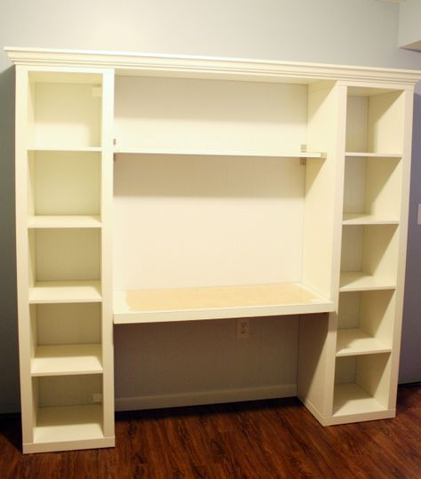 How To Build Your Own Built In Desk From Ikea Billy Bookcases Diy Furniture Bookshelves Diy Ikea Billy Bookcase