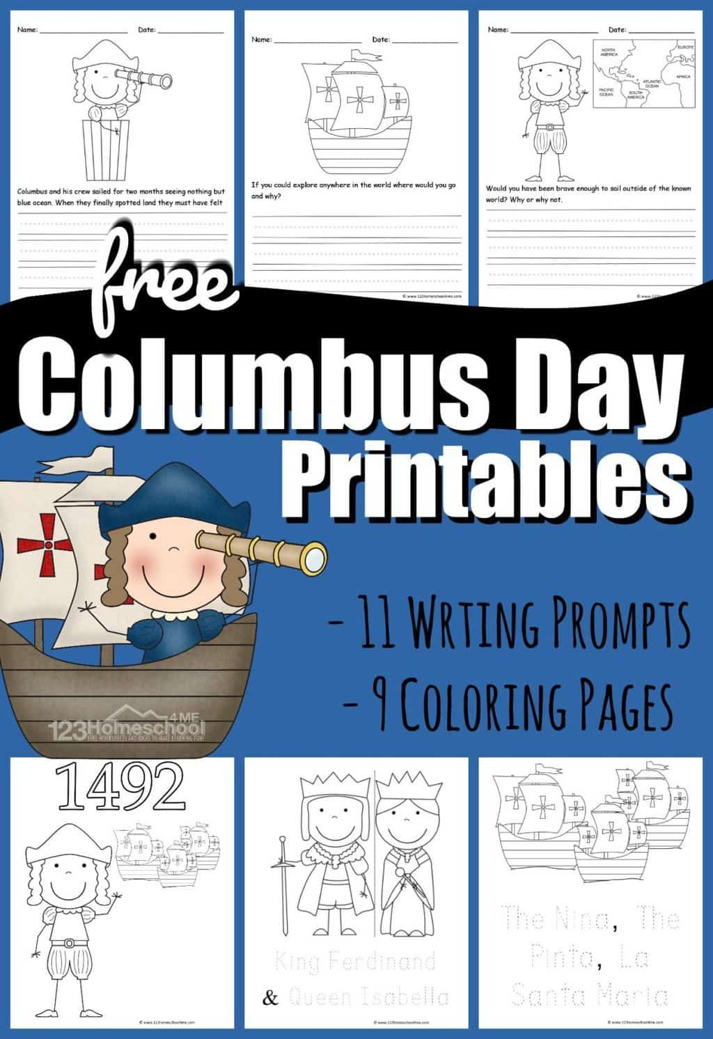 Free Columbus Day Printables In 2020 Writing Prompts For Kids Columbus Day Christopher Columbus Activities