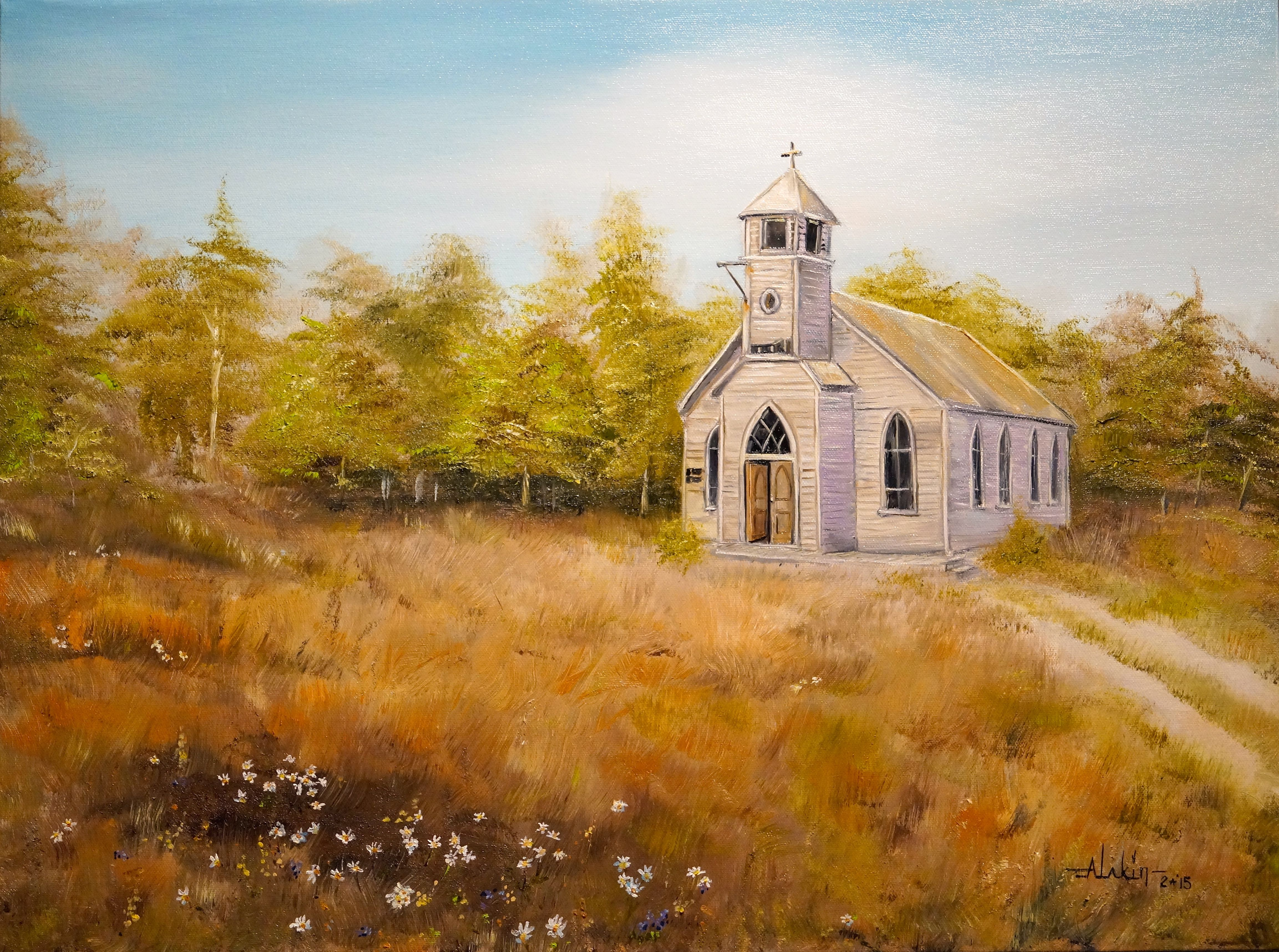 Watercolor artist websites - Painting Church On A Hill 18x24 Oil On Canvas Alan Lakin Artistwebsites