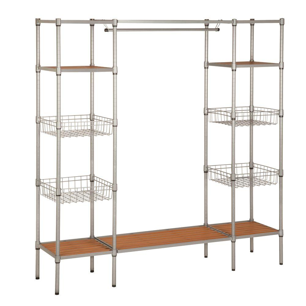 Honey Can Do 16 25 In D X 67 5 In W X 68 In H Freestanding Steel Closet System Organizer Wrd 02350 Clothes Storage Systems Closet System Closet Shoe Storage