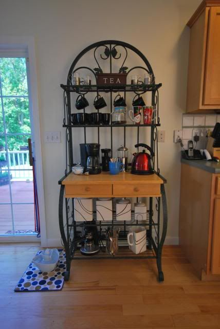 Baker's Rack into a Coffee Bar  (+ a continental breakfast station)  (I love that this is actually the same bakers rack that I own!)