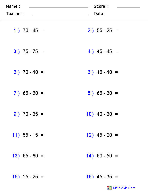 Subtracting Two Digit Numbers Ending in a Fixed Number Worksheets ...