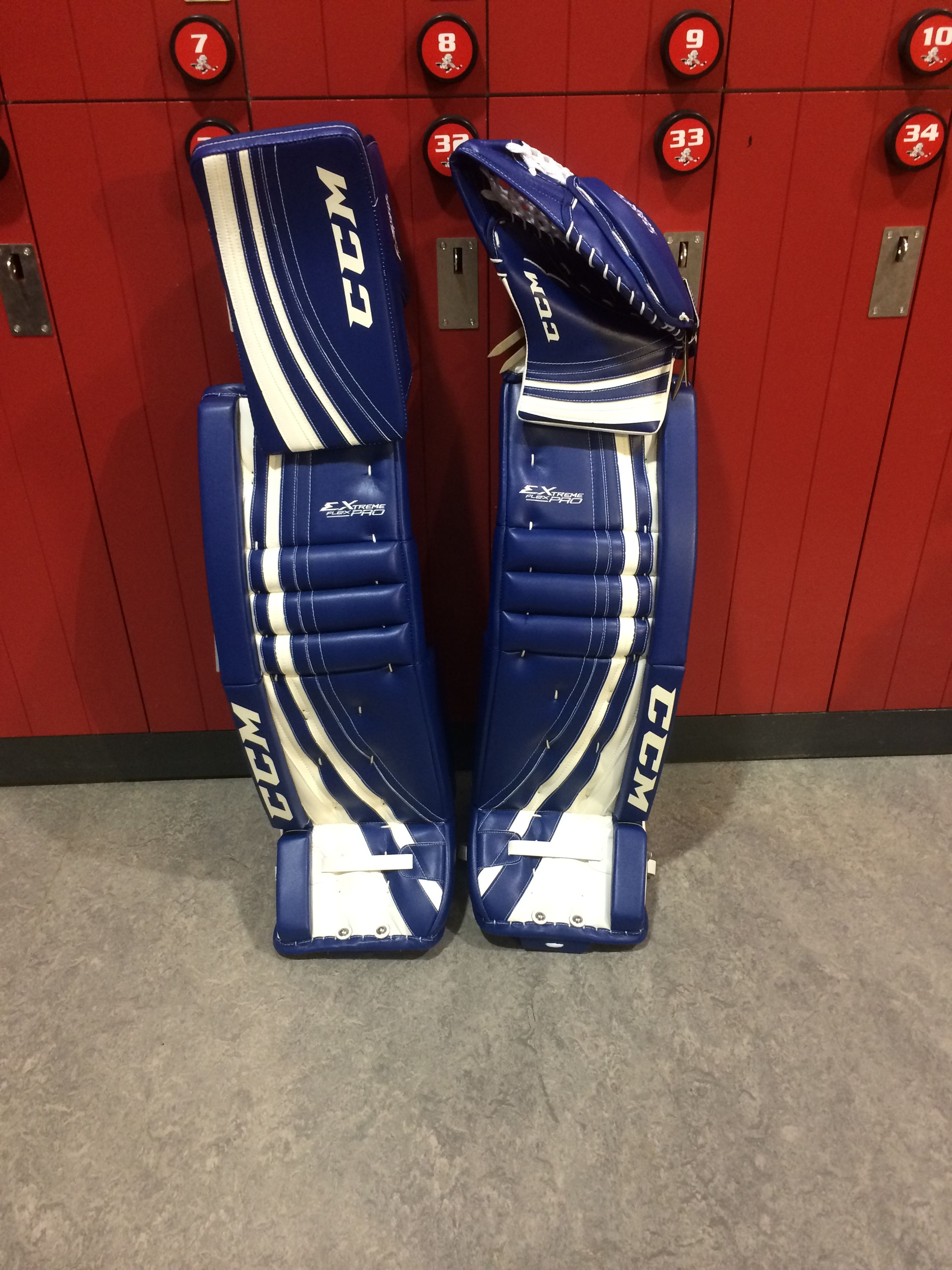 CCM Extreme Flex Pro custom goalie pads and gloves made for a