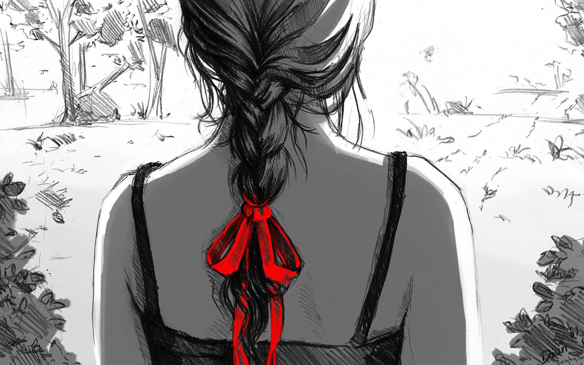 Download Braid Drawing Girl Wallpaper | Free Wallpapers ...