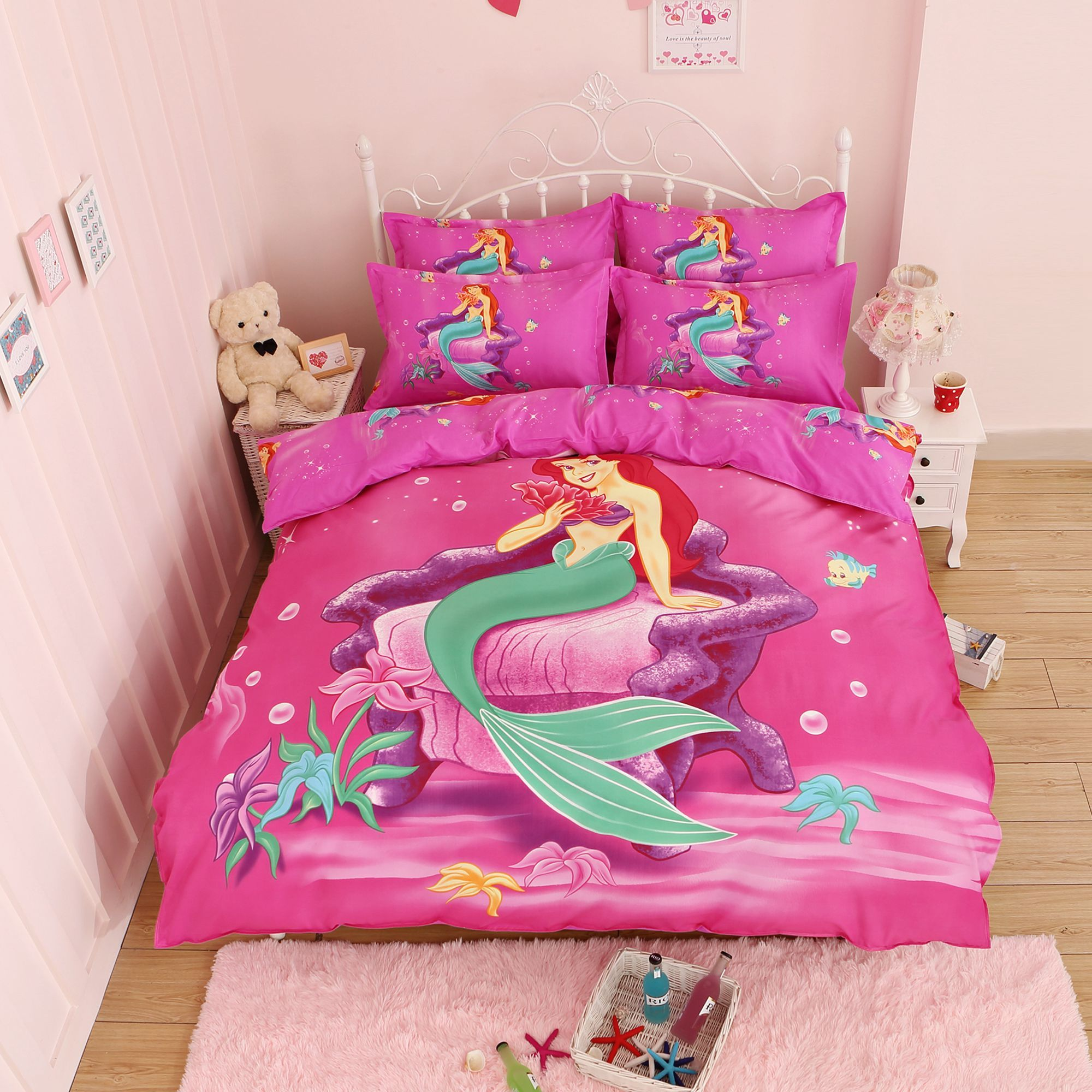 3d cartoon red mermaid bedding set for adult kids gift cotton bed