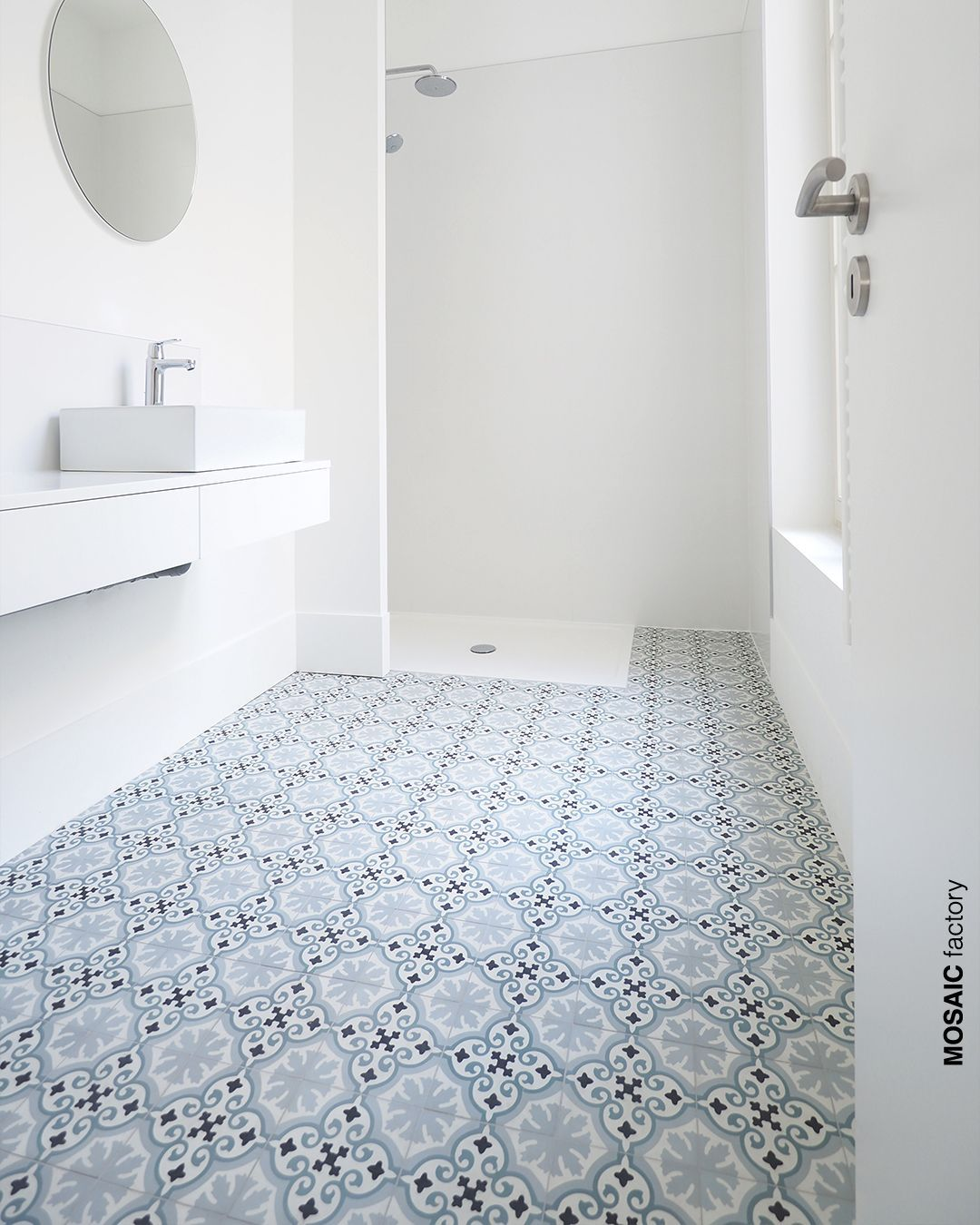 Feature Bathroom Floor With Light Blue White And Black Patterned Cement Tiles With Classic Moroc Blue Bathroom Tile Patterned Bathroom Tiles Bathroom Flooring