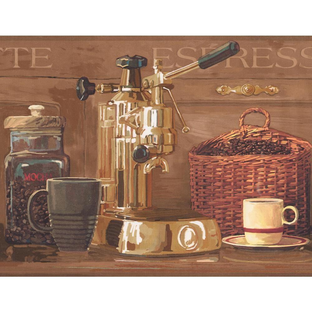 York Wallcoverings Coffee Beans Espresso Machine Brown