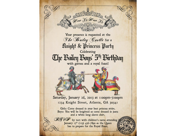 Knight Birthday Party Invitation Printable, Medieval Times Invite, Renaissance Birthday Party Theme, Jousting Knights, Princess and Knight #feiertageundanlässe