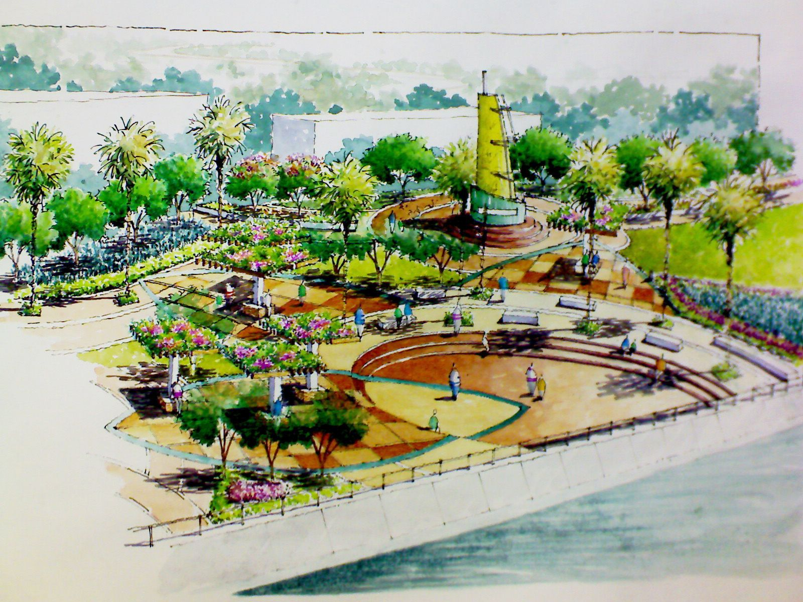 Landscape Design Perspective Central Plaza Modern Landscape Urban Design Landscape Corridor And Entryway Arch Gateway Park Hardscape Gard Thiết Kế Canh