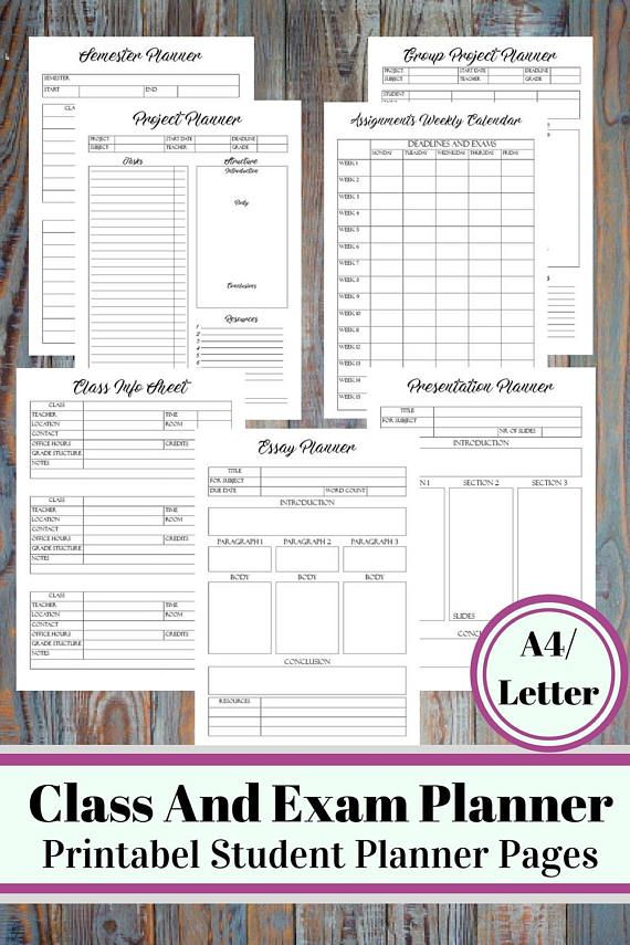 Class And Exam Printable Planner - Student Survival Kit, Student