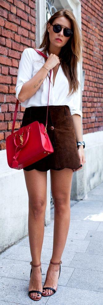 The Fashion Fruit White Loose Blouse Dark Suede Button Skirt #Fashionistas