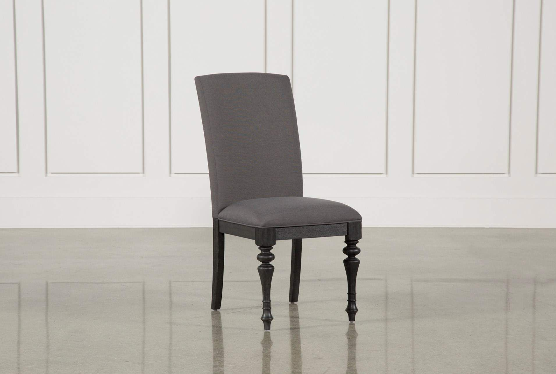 Caira Black Upholstered Side Chair, Grey | Side chair, Nailhead trim ...