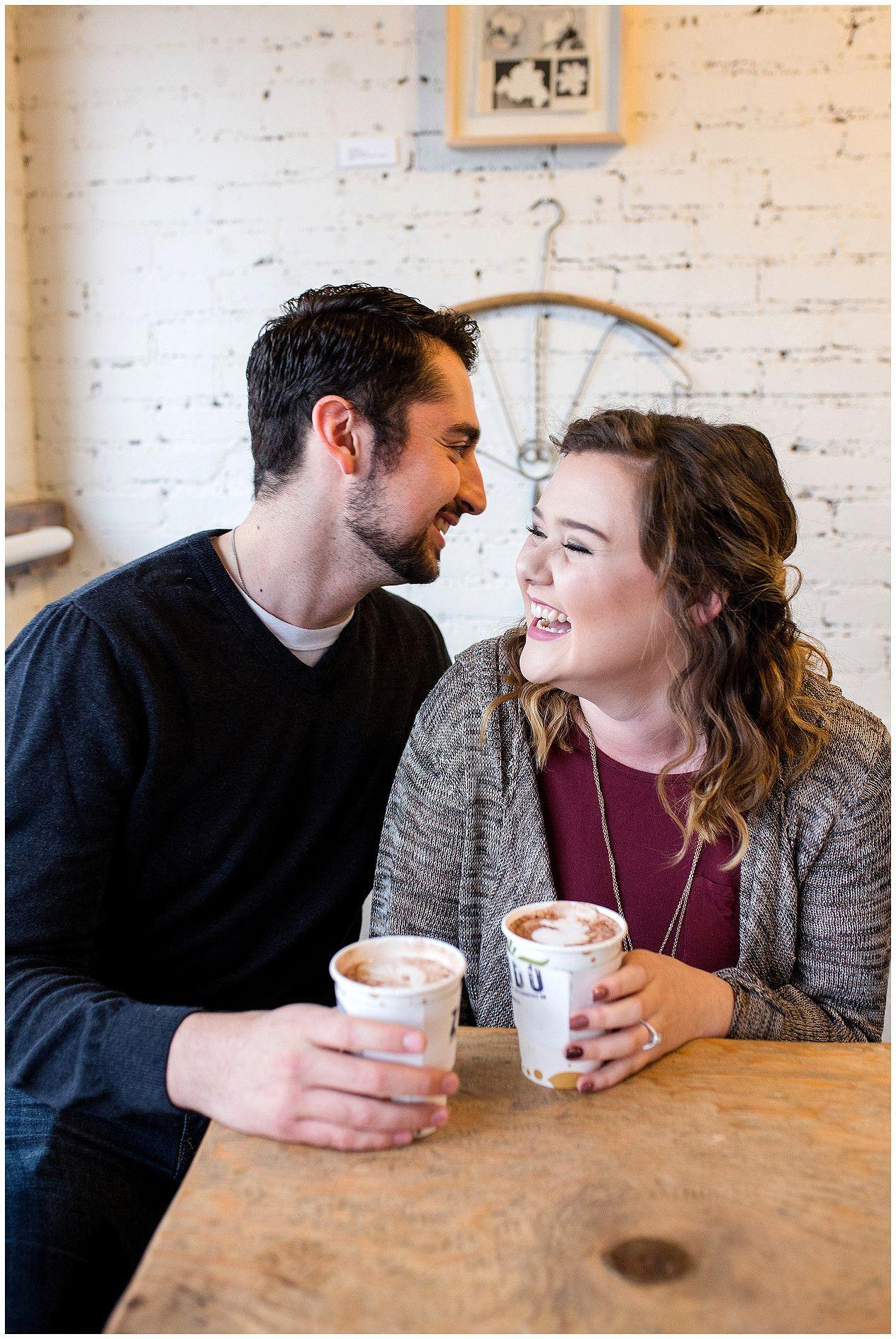 Coffee shop engagement session albuquerque new mexico