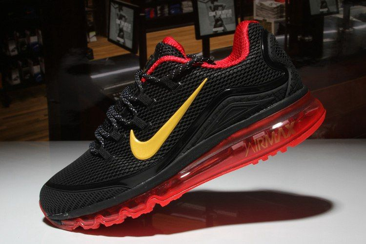 c2e8246fa5 Nike Air Max 2018 Elite Hot Black Red Gold Shoes For Men