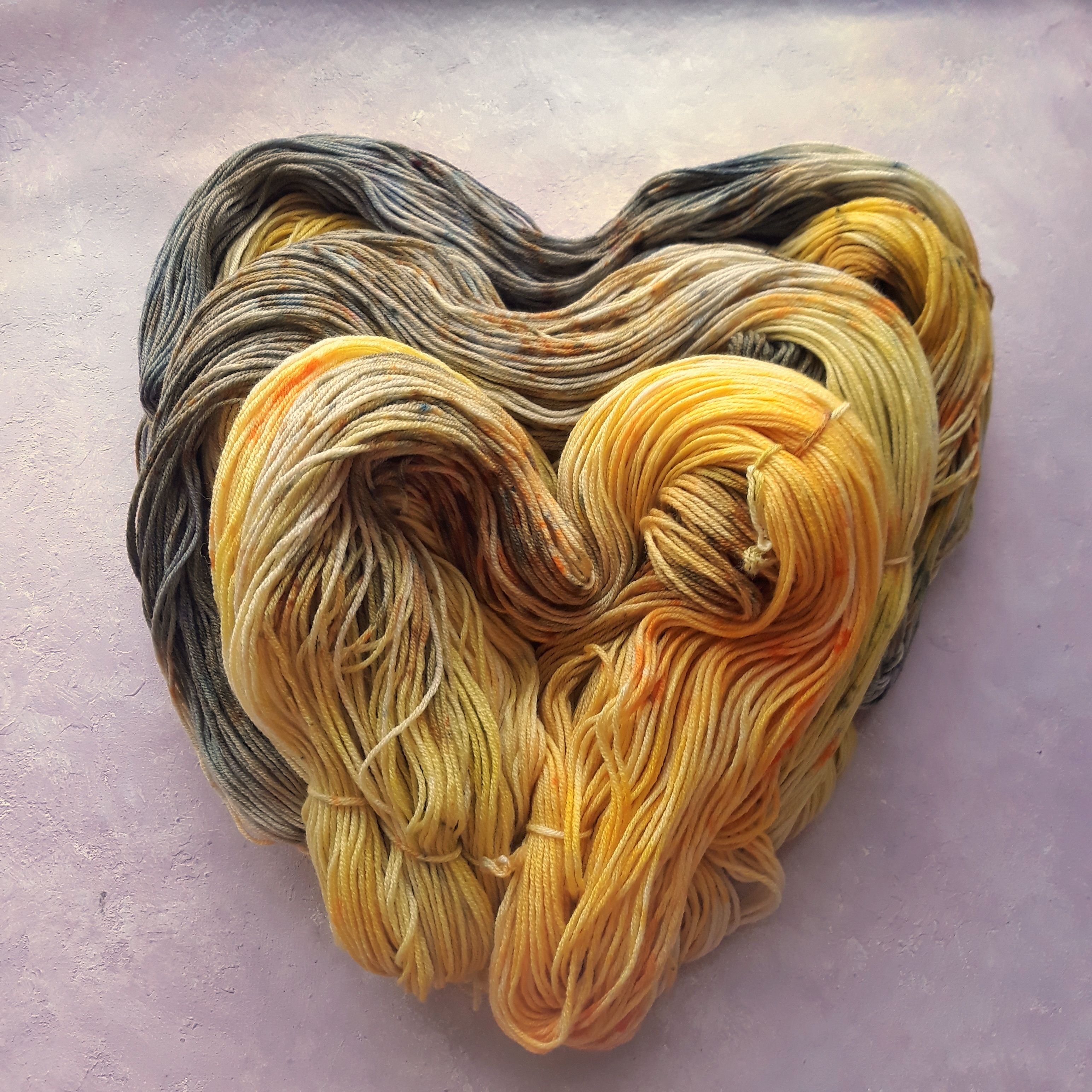 Yellow and grey set / Gradient yarn / Hand dyed yarn