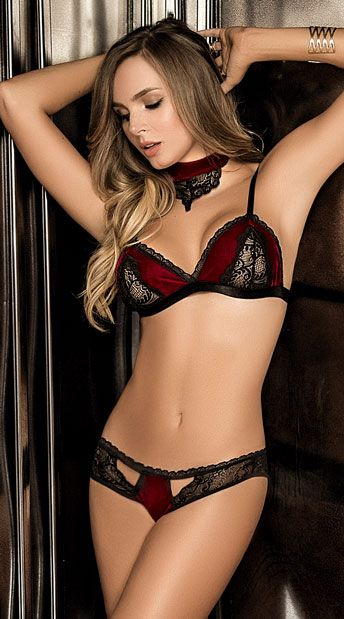 315a792e9b Drive your love wild with this two piece bra set featuring red velvet cups  with sheer black lace panels