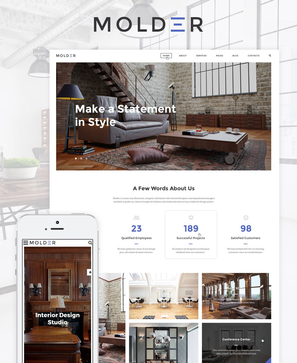 Molder Interior Design Website Template With Images Interior