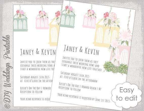 Birdcage Wedding invitation The Invitations Pinterest - free microsoft word invitation templates