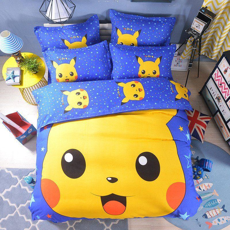 Cotton Sheet Duvet Bedding Set, Pokemon Bedding Queen Size