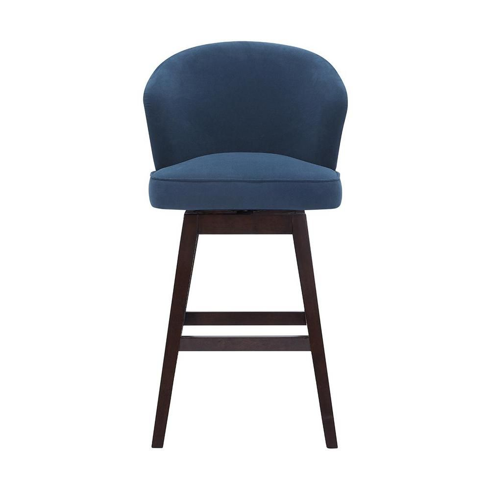 Home Decorators Collection Ingram Upholstered Swivel Bar Stool With Barrel Back And Midnight Blue Seat 23 In W X 43 7 In H Midnight Chocolate In 2020 Upholstered Bar Stools Swivel Bar Stools