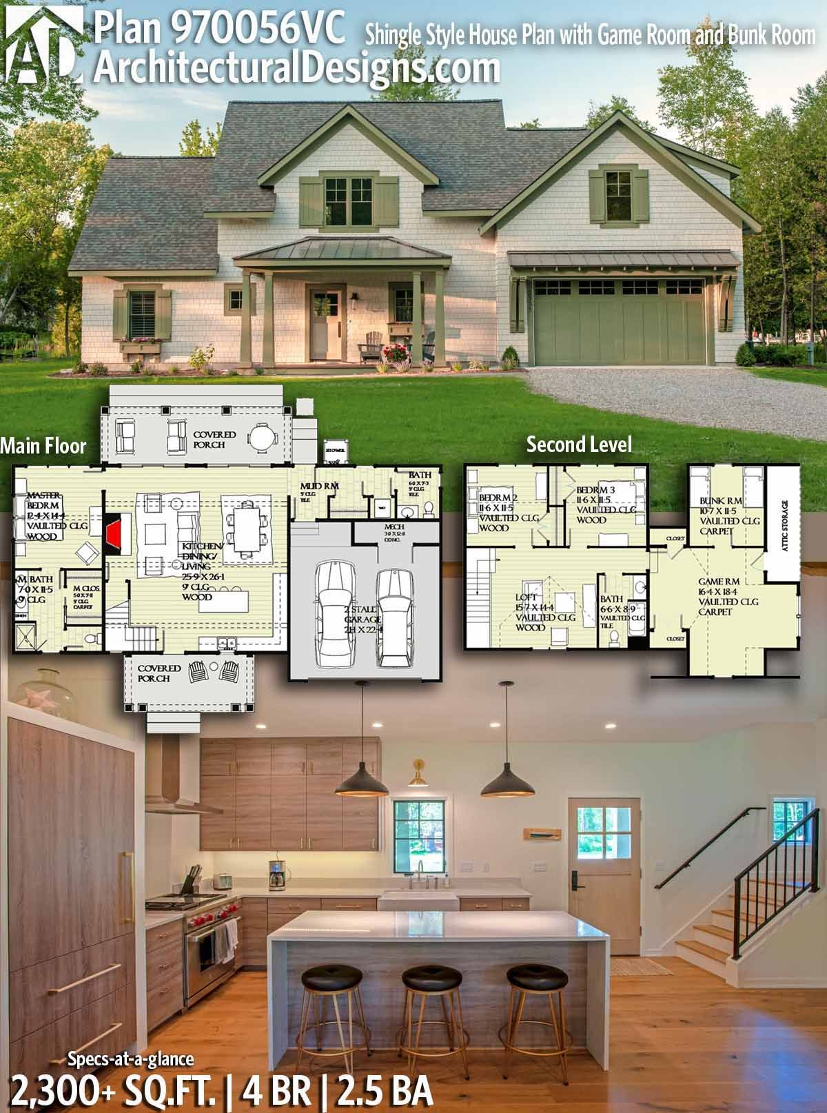 Plan 970056vc Shingle Style House Plan With Game Room And Bunk Room House Plans Exclusive House Plan Architectural Design House Plans