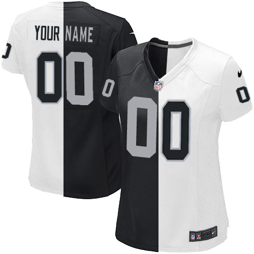 Men's Nike Oakland Raiders Customized Black/White Two Tone Elite Jersey
