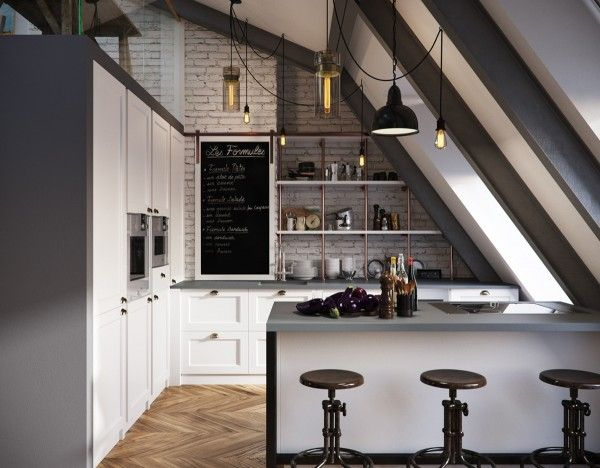 Perfect Three Dark Colored Loft Apartments With Exposed Brick Walls