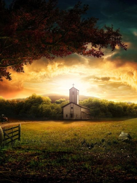 Free Computer Wallpaper Fall Leaves Church During Sunrise Old Country Churches Nature